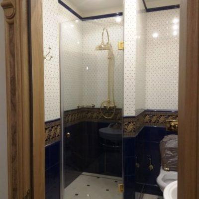 Дверь в душевую из бесцветного закаленного стекла толщиной 8 мм. с золотой фурнитурой