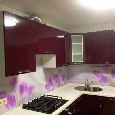 Кухонный фартук с фотопечатью цветы на закаленном осветленном стекле1