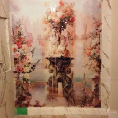 Настенное панно с уф-фотопечатью на закаленном осветленном стекле толщиной 6 мм огромного размера 2523х1593 одним полотном