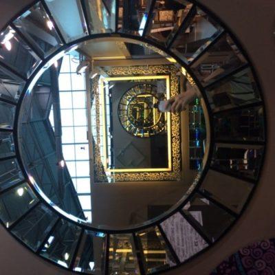 Зеркало Серебро с фацетными элементами диаметр 800 мм